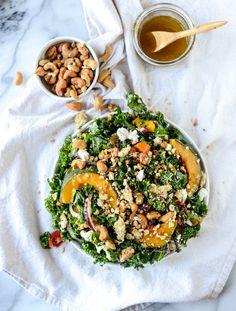 Crunchy cashew kale salad - howsweeteats.com