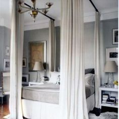 this is what Mom meant when she said you could use curtain rods to create a canopy bed. DIY canopy bed with curtain rods Curtain Rod Canopy, Diy Canopy, Canopy Beds, Hang Curtains, Canopy Bedroom, Ceiling Canopy, Fabric Canopy, Backyard Canopy, Tree Canopy