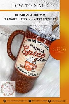 Learn how to make a pumpkin spice tumbler and topper! We give you the supply list and step by step instructions so you can make your own fall creation! How To Make Pumpkin, A Pumpkin, Pumpkin Spice, Piping Tips, Cinnamon Powder, Whipped Topping, Tumbler Designs, Autumn Theme, Step By Step Instructions