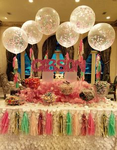 Gorgeous Sweet 16 Candy Buffet with tassel confetti balloons  Ideal Party Decorators