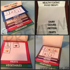 Foldables for sorting by food group part of interactive notebook materials for healthy eating. $