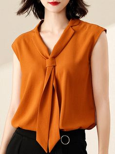 Stylewe Caramel White Women Tanks And Camis For Work Polyester Lapel Casual Tanks And Camis