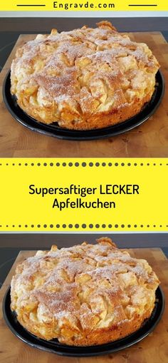 Supersaftiger LECKER Apfelkuchen Ingredients 125 g margarine or butter, soft 125 g sugar 3 egg (s) pack baking powder 250 g flour 1 kg apples, peeled, pitted fat for the form a lot of butter to coat a lot of sugar or sugar and zi Challah French Toast Casserole, Banana Bread French Toast, Apple Pie Ingredients, Vegan Sweet Potato Pie, Banana Recipes, Easy Meals, Form, French Recipes, Dessert