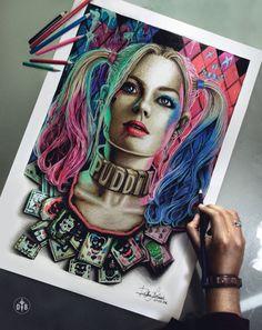 "herochan: "" Suicide Squad - Harley Quinn Art by Dylan Bolívar Barraza "" Harley Quinn Halloween, Joker And Harley Quinn, Halloween Art, Batman Comic Books, Comic Art, Harley Quinn Drawing, Margot Robbie Harley, Gotham Girls, Comic Character"