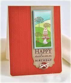 Happy Autumn Birthday Card by Debbie Olson for Papertrey Ink (August 2012)