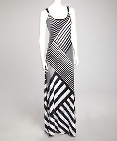 Take a look at this Black & White Stripe Maxi Dress by Bailey Blue on #zulily today!
