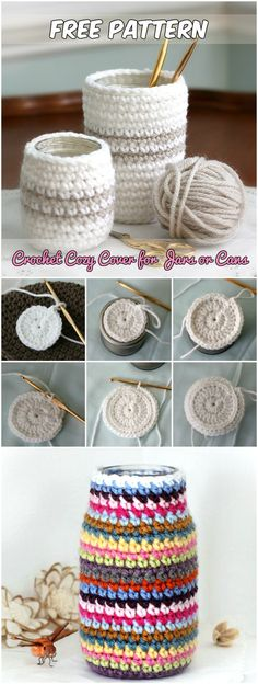 Crochet Cozy Cover for Jars or Cans Free Pattern