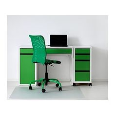 MICKE Desk - white/green - IKEA (with additional rolling cart)