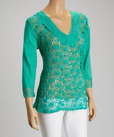 Look what I found on #zulily! Turquoise Cutout Embroidered Tunic #zulilyfinds