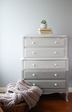 Two-toned colour blocked highboy.  Lee.Marie Antiqued Furniture