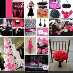 hot pink and black wedding     like the hot pink flowers bottom right