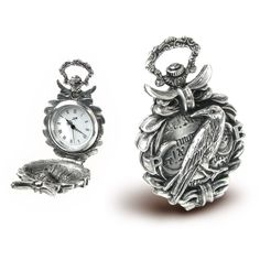 Nevermore Fob Watch  Remember the master of the macabre! A grim and ghastly raven adorns the lid of this antiqued-pewter timepiece, bearing quotations from Poe's most famous poem. Hinged lid; magnetic catch. Quartz movement. Handcrafted in UK.