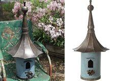 Victorian Birdhouse   Metal Birdhouse. A little spendy at $72, but still, beautiful.