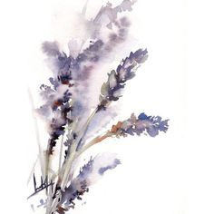 Lavender Painting, Original Watercolor Painting, Purple Floral... (€65) ❤ liked on Polyvore featuring home, home decor, wall art, flowers, filler, backgrounds, nature, detail, embellishment and phrase