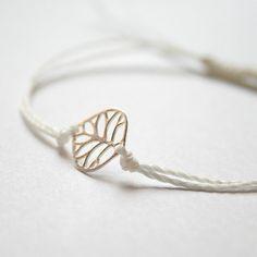 Sterling silver tiny leave. Friendship bracelet by happybracelets, $14.50