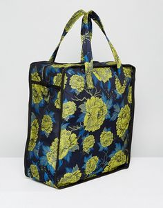 Boxy Shopper Bag with Floral Jaquard