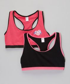This Black & Hot Pink Heart Sports Bra Set - Girls by Saramax is perfect! #zulilyfinds