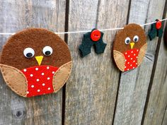 Robin And Holly Garland Felt Christmas Garland Robin by FeltWitch