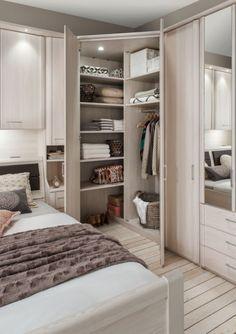 Wiemann Luxor Corner Wardrobe with Cornice - CFS Furniture UK Bedroom Corner, Small Master Bedroom, Home Bedroom, Modern Bedroom, Bedroom Decor, Corner Wardrobe, Bedroom Wardrobe, Small Bedroom With Wardrobe, Fitted Bedroom Furniture