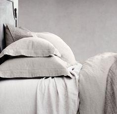 RH Stonewashed Belgian Linen Bedding In Mist Linen Sheets, Bed Linen Sets, Linen Duvet, Bed Sheets, Linen Fabric, Linen Pillows, Modern Bed Linen, Black Bed Linen, Modern Bedding