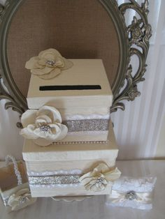 Wedding Card box Wedding ring pillow The by ForeverLoveNotes