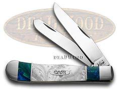 CASE XX White Pearl & Aquarius Trapper Pocket Knives