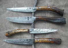 I like the horn look, smooth and raw together. Cool Knives, Knives And Tools, Knives And Swords, Blacksmithing Knives, Forged Knife, Knife Sheath, Handmade Knives, Fixed Blade Knife, Custom Knives