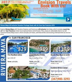 Attention San Francisco  Deals for 2017 all inclusive vacation packages with round -trip air included in one great price. (payment plans available)  Envision Travels Pauline Boatwright-Wilds  Travel Agent Professional  (347)985-3293 email: www.envisi0np921@aol.com