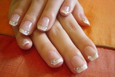 french manicure glitter gradient | Joce, the bride: Classic French Manicure with Swarovski Crystals