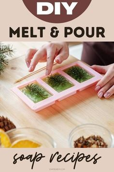 Melt and pour soap recipes. Tips and tricks for making melt and pour soaps. How to make melt and pour soap recipes for beginners using natural ingredients and essential oils along with melt and pour soap making techniques. Learn how to make easy melt and pour soap recipes with this modern guide to natural soapmaking with fifty easy melt and pour soap recipes for beginner soapmakers. Plus melt and pour soap making tips, tricks and design techniques to help you create your own custom soap… Fun Easy Crafts, Crafts To Make And Sell, Deli News, Sugar Scrub Recipe, Homemade Soap Recipes, Food Gifts, Diy Gifts, Beauty Recipe, Recipes For Beginners