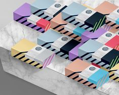 Ownluck #packaging design on Behance. Love the color blocks and stripes.