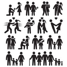 Love and family life black & white vector icon set vector art illustration