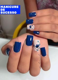 You own the powerful look and your blue nails will add to your personality strength. You can add beauty on your nails with Cute Dark Blue Nail Designs. Fancy Nails, Diy Nails, Pretty Nails, Blue Nail Designs, Nail Designs Spring, Blue Nails With Design, Flower Nails, Cool Nail Art, Nail Art Blue