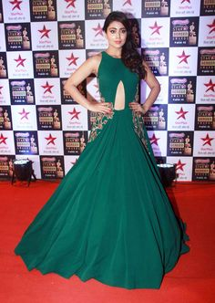 Shriya Saran Stills In Green Dress At Star Screen Awards - Tollywood Stars