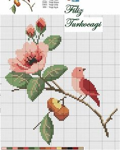 Designed by Filiz Türkocağı. Cross Stitch Bird, Cross Stitch Animals, Cross Stitch Flowers, Cross Stitch Charts, Cross Stitch Designs, Cross Stitching, Cross Stitch Embroidery, Cross Stitch Patterns, Hand Embroidery Videos