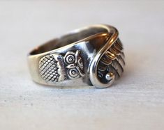 Size 7 Sterling Silver Owl Ring Silver Feather by lovestrucksoul