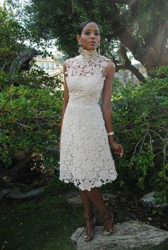 3c5d78a59a7f Vintage 1950s Style Ivory White Sheer Wedding Tea-Length DRESS rehearsal  dinner bridesmaids. Simple Lace Short Wedding Dress