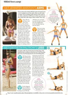 Tracy Anderson's tips for getting Jennifer Aniston's arms and Gwyneth Paltrow's legs. From Cosmo UK, June 2011.