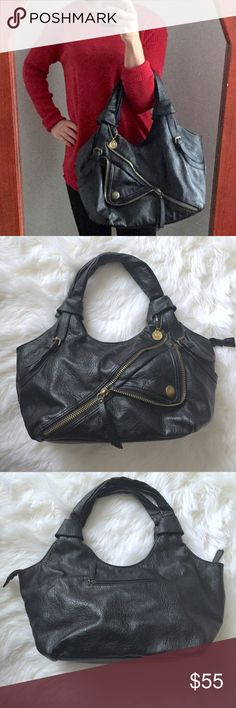 """Big Buddha Hobo Bag Black Leather Bronze Hardware Large hobo black leather bag with bronze colored hardware. Soooooo many compartments! This bag is fabulous for organizing anything & everything you need while on the go! 2 button pockets on front. 1 zipper pocket on back.  2 zippered compartments inside plus 2 open compartments for phone & accessories.  Full zipper closure on top.  Loved very much! Good condition! 1 button on the front left pocket is a little loose (shown in last pic). ~13.5""""…"""