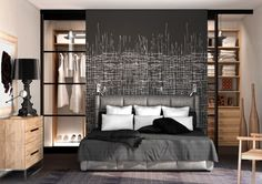 The Europeans certainly have this idea down closet behind the headboard Closet Bedroom, Home Bedroom, Bedroom Decor, Closet Behind Bed, Dressing Room Design, Modern Bedroom Design, Luxurious Bedrooms, Sweet Home, House Design