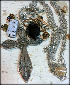 German Needle Cross, Agate, Crystals, Pearls and Brass Charms.