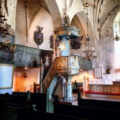 The pulpit, built in at St. Mary's Cathedral in Porvoo Finland Faroe Islands, Denmark, Norway, Sweden, Beautiful Homes, Cathedral, Around The Worlds, Europe, Country