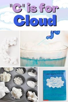 Today starts our letter C week of activities. We have a new batch of sight words, a book by Eric Carle, letter C craft, sensory activity, and science activity for you to enjoy with your kid's–plenty of fun stuff to play and learn! Let kiddos explore different textures while creating their very own cloud. You can use all edible supplies to make this activity completely safe for tot school Letter C Activities, Math Activities For Toddlers, Stem Activities, Preschool Ideas, Letter C Crafts, Minimalist Homeschool, Preschool Weather, Preschool Alphabet, Toddler Classroom