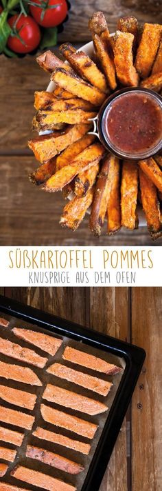Sweet Potato Fries with Homemade Ketchup (Vegan) - Essen Trinken - Homemade Burgers Grilling Recipes, Cooking Recipes, Burger Recipes, Homemade Ketchup, Homemade Burgers, Vegetarian Recipes, Healthy Recipes, Fast Recipes, Healthy Food