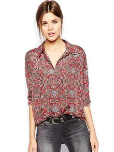 Sale 19% (11.59$) -  Women\'s Printed Blouse Long Sleeve Totem Lapel Tops Loose Shirts