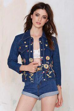 Vintage Janica Embroidered Denim Jacket