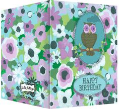 Happy Birthday card with purple and turquoise flowers and an owl.  Blank inside.  Available wholesale or retail:  http://www.violetcottage.com/birthday/23-happy-birthday-card-blank-inside-purple-turquoise-flowers-owl.html