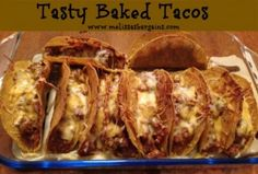 Easy and tasty baked tacos you cook in the oven! Kid friendly, too! Mexican Dishes, Mexican Food Recipes, Beef Recipes, Cooking Recipes, Fun Recipes, Dinner Recipes, Baked Tacos Recipe, Taco Bake, Tasty