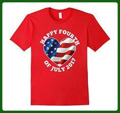 Mens Patriotic Shirt Fourth July 2017 Heart Flag USA Distressed Medium Red - Holiday and seasonal shirts (*Amazon Partner-Link)