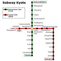 Kyoto ist die sechstgrößte Stadt in Japan. Das Kyoto Metro, was auch als U-Bahn Kyōto bekannt ist, hat 2 Linien, die Karasuma Linie (Karasuma-sen) und die Tozai Linie (Tozai-sen). #kyoto #subway #karte